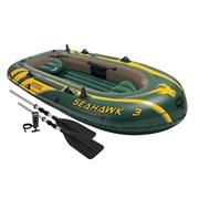 Надувная лодка Seahawk 300 Set 3-х местная Intex 68380 + насос, алюминиевые весла, подушки
