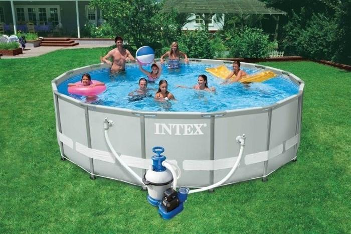 Каркасный бассейн Intex 28324 + песочный фильтр-насос, лестница, тент, подстилка (488х122см) - фото 10212