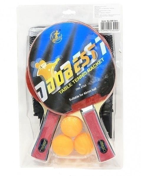 Набор для н/т DOBEST BR20 1 звезда (2 ракетки + 3 мяча) - фото 10743