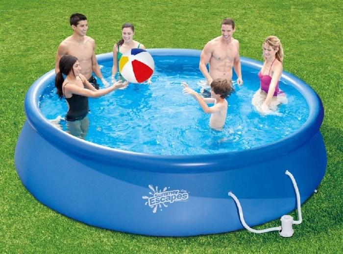 Надувной бассейн Summer Escapes P21-1339-F с надувным верхним кольцом + фильтр-насос, лестница, тент, подстилка (396х99см) - фото 13837