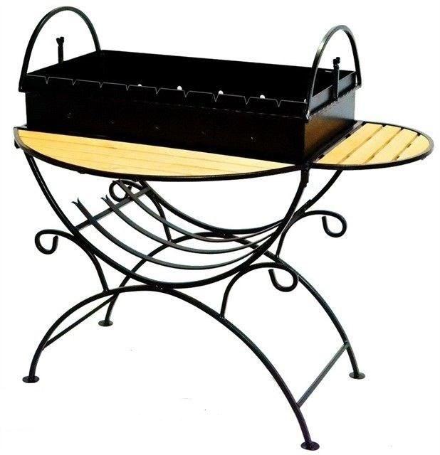 Мангал из стали 2мм с двумя столиками и дровницей  на колесиках - фото 15331