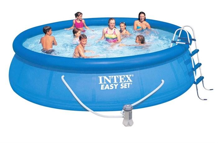 Надувной бассейн Intex 28166 с надувным верхним кольцом + фильтр-насос, лестница, тент, подстилка (457х107см) - фото 15340
