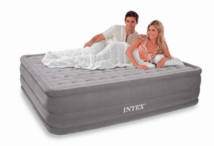 Надувная кровать Intex 66958 двуспальная со встр. насосом 220В (152х203х46) - фото 15400
