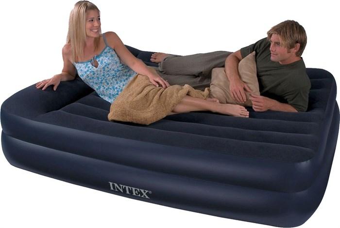 Надувная кровать Intex 66702 двуспальная со встр. насосом 220В (152х203х47) - фото 15444