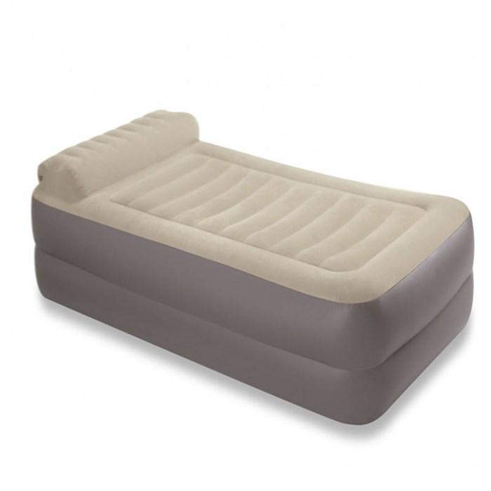 Надувная односпальная кровать Intex 67776 с подголовником + насос 220V (99х191х47) - фото 15559