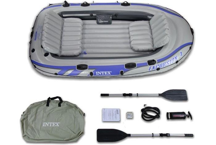 Надувная лодка Intex 68324 4-х местная Excursion 4 Set + аллюминиевые весла, насос, надувные сиденья - фото 16132