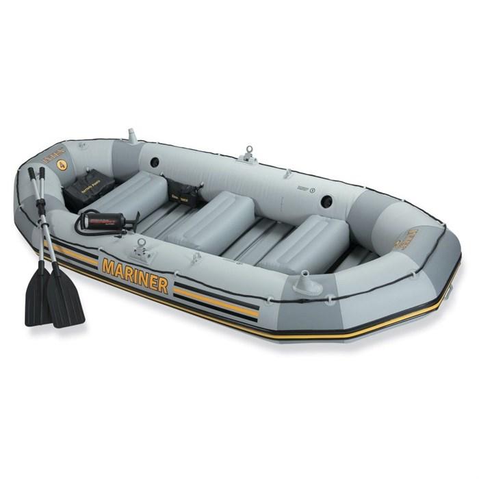 Надувная лодка Intex 68376 4-х местная Mariner 4 Set + аллюминиевые весла, насос, надувные сиденья - фото 16160
