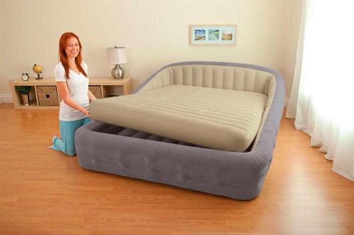 Надувная кровать Intex 67972NEW двуспальная со съемным матрасом+насос 220В (193х240х76) - фото 16699