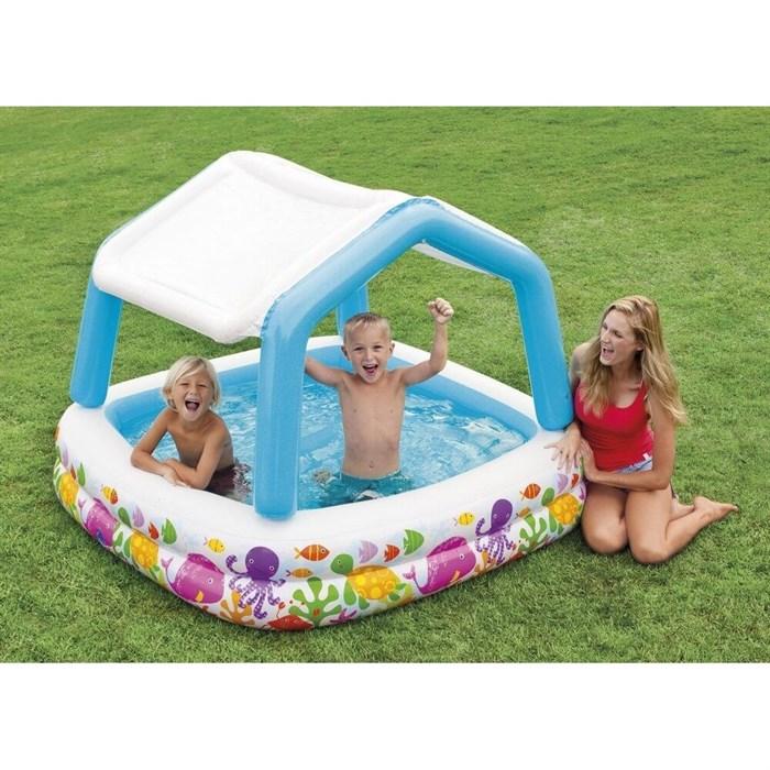 """Детский надувной бассейн прямоугольный с навесом """"Домик"""" 57470 (157х157х122) - фото 18579"""