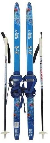 Детский комплект лыж + палки с насечкой рост 100