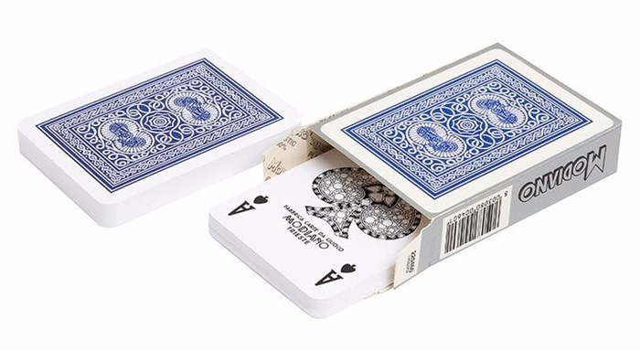 Карты для покера Old Trophy 100% пластик, Италия, синяя рубашка - фото 26286