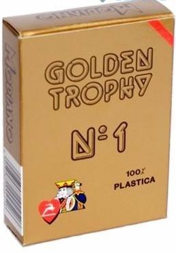 Карты для покера Golden Trophy 100% пластик, Италия, красная рубашка - фото 26289
