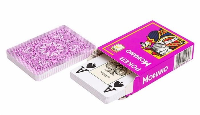 Карты для покера Poker 100% пластик, Италия, фиолетовая рубашка - фото 26291