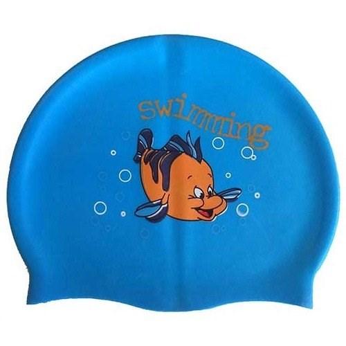 Шапочка для плавания силиконовая с рисунком RH-С30 (голубая) - фото 38100