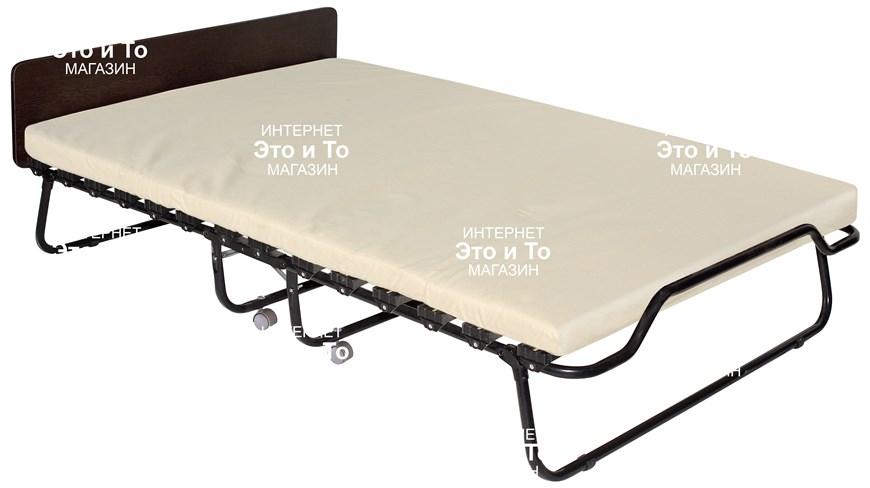 Двухспальная раскладушка Амалия (дуб, орех, венге) с матрасом + изголовье, ограничители матраса, ремешок-фиксатор (раскладная кровать-тумба) 1900x1200x447мм - фото 60911