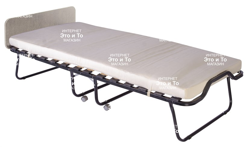 Раскладушка Элеонора М (дуб, орех, венге) с матрасом + изголовье, ограничители матраса, ремешок-фиксатор (раскладная кровать-тумба) 2000x900x430мм - фото 60921