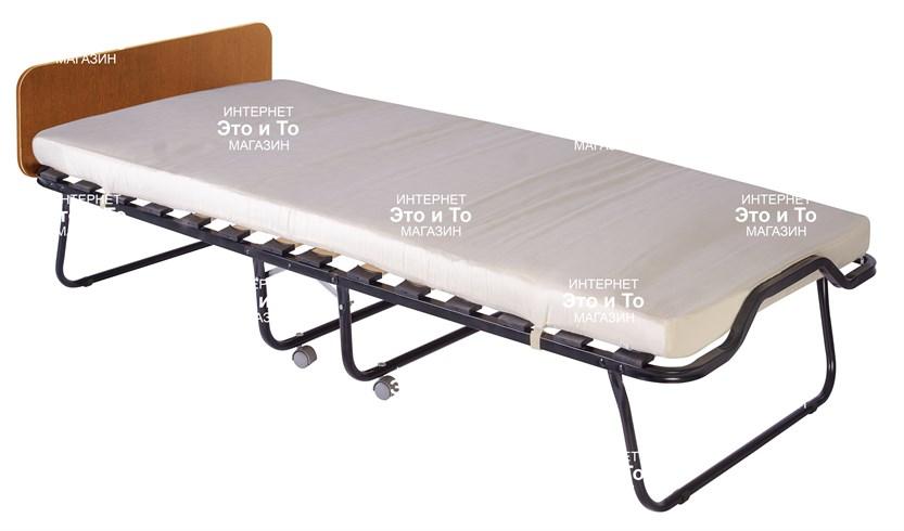 Раскладушка Элеонора М (дуб, орех, венге) с матрасом + изголовье, ограничители матраса, ремешок-фиксатор (раскладная кровать-тумба) 2000x900x430мм - фото 60927