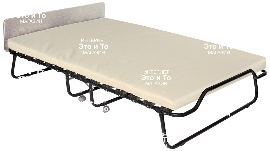 Двухспальная раскладушка Амалия (дуб, орех, венге) с матрасом + изголовье, ограничители матраса, ремешок-фиксатор (раскладная кровать-тумба) 1900x1200x390мм - фото 60933