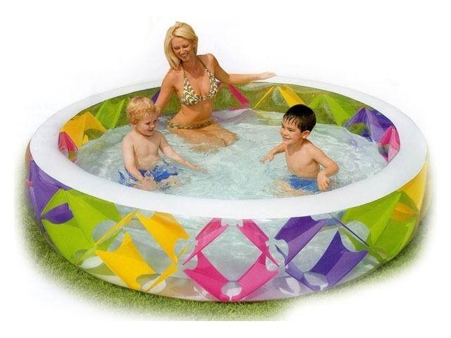 Бассейн семейный с цветными вставками с надувным дном Intex 56494 (229х56)