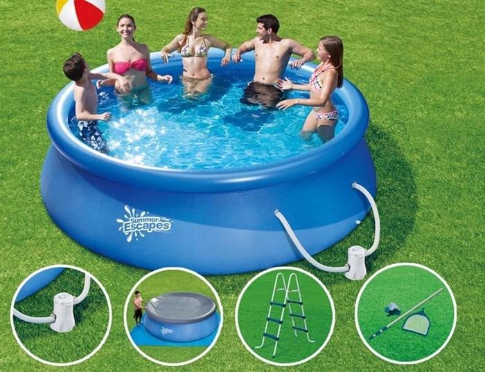 Надувной бассейн Summer Escapes P21-1239-B с надувным верхним кольцом (365х99см) - фото 9558