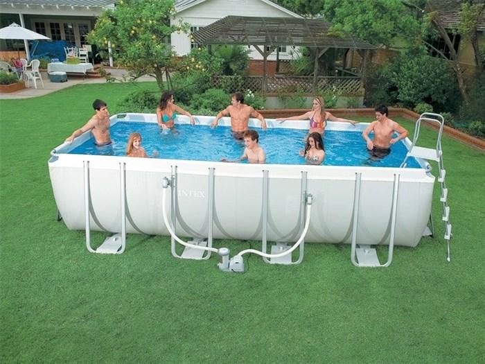 Каркасный бассейн Intex 28350 для дома + фильтр-насос, лестница (400х200х100см) - фото 9601