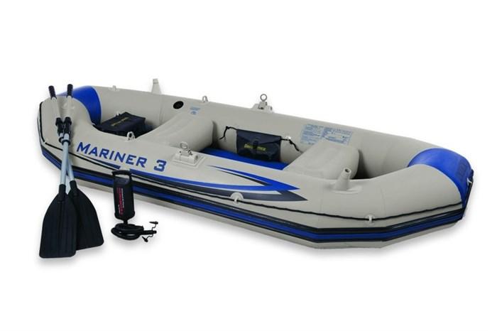 Надувная лодка Intex 68373 3-х местная SetMariner 3 + аллюминиевые весла, насос, надувные сиденья - фото 9979