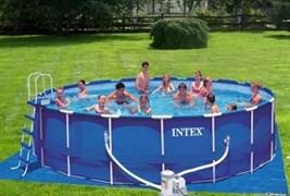 Каркасный бассейн для дачи Intex 28234 + фильтр-насос, лестница, тент, подстилка (457х107см)