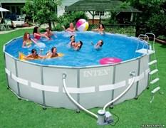 Каркасный бассейн Intex 28322 + фильтр-насос, лестница, тент, подстилка (488х122см)