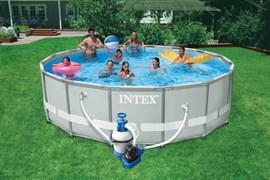 Каркасный бассейн Intex 28324 + песочный фильтр-насос, лестница, тент, подстилка (488х122см)
