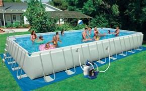 Каркасный бассейн Intex 28376/26376 + песочный фильтр-насос + хлоргенератор, лестница, тент, подстилка, волейбольная сетка (975х488х132см)