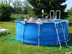 Каркасный бассейн BestWay 56088/56420Б + фильтр-насос, лестница, тент, подстилка (366х122см)
