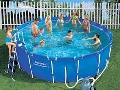 Каркасный бассейн BestWay 56259/56414 + песочный фильтр-насос, лестница, тент, подстилка  (366х122см)