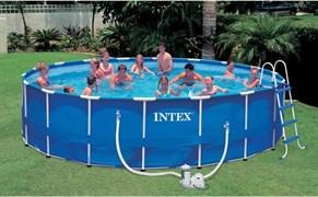 Каркасный бассейн Intex 54952/28252 + фильтр-насос, лестница, тент, подстилка (549х122см)