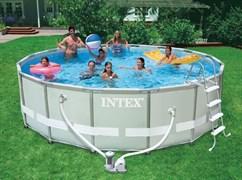 Каркасный бассейн Intex 28328 + фильтр-насос + хлоргенератор, лестница, подстилка, тент, сачок, скиммер  (488х122см)