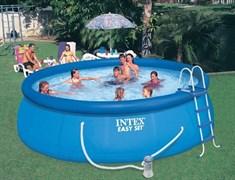 Надувной бассейн Intex 54916/28168 с надувным верхним кольцом + фильтр-насос, лестница, тент, подстилка (457х122см)