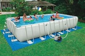 Каркасный бассейн Intex 28366 + песочный фильтр-насос + хлоргенератор, лестница, подстилка, тент, набор для чистки, скиммер, волейбольная сетка (732х366х132см)