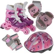 Набор: коньки ролик, защита, шлем р.35-38 PW-120P