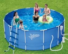 Каркасный бассейн Summer Escapes P20-1352-B  + фильтр-насос, лестница, тент, подстилка, набор для чистки DELUXE, скиммер (396х132см)