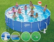Каркасный бассейн Summer Escapes P20-1452-B + фильтр-насос, лестница, тент, подстилка, набор для чистки DELUXE, скиммер (427х132см)