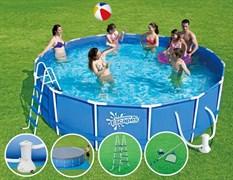 Каркасный бассейн Summer Escapes P20-1652-B + фильтр-насос, лестница, тент, подстилка, набор для чистки DELUXE, скиммер (488х132см)