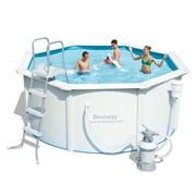 Каркасный бассейн со стальными стенкам BestWay 56285 + песочный фильтр-насос, подстилка, лестница, скиммер (366х122см)