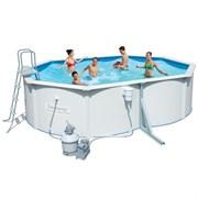 Каркасный бассейн со стальными стенкам BestWay 56286 + песочный фильтр-насос, подстилка, лестница, скиммер (488х366х122см)