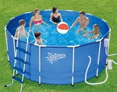 Каркасный бассейн Summer Escapes P20-1252-B + фильтр-насос, лестница, тент, подстилка, набор для чистки DELUXE, скиммер (366х132см)