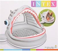 Детский надувной бассейн с навесом «Акула» Intex 57120