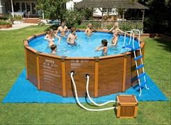 Каркасный бассейн Intex 28382/54928 + песочный фильтр-насос, лестница, тент, подстилка (478х124см)