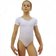 Купальник гимнастический, короткий рукав, белый, х/б, р. 36