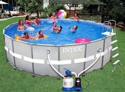 Каркасный бассейн Intex 28332 + песочный фильтр-насос, лестница, тент, подстилка (549х132см)