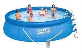 Надувной бассейн Intex 28166 с надувным верхним кольцом + фильтр-насос, лестница, тент, подстилка (457х107см)