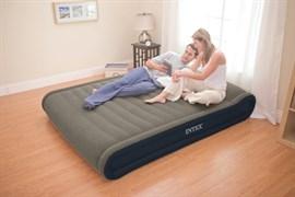 Надувная кровать Intex 67726 двуспальная с внеш. эл. насосом 220В (152х203х41)