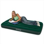 Надувной матрас Intex 66950  односпальный Downy со встр. ножным насосом (76х191х22)